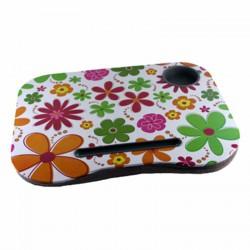 Mesa con cojín para portátil con portavasos mod. FLORES