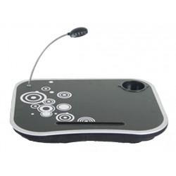 Mesa con cojín y luz led para portátil con portavasos, mod. NEGRO