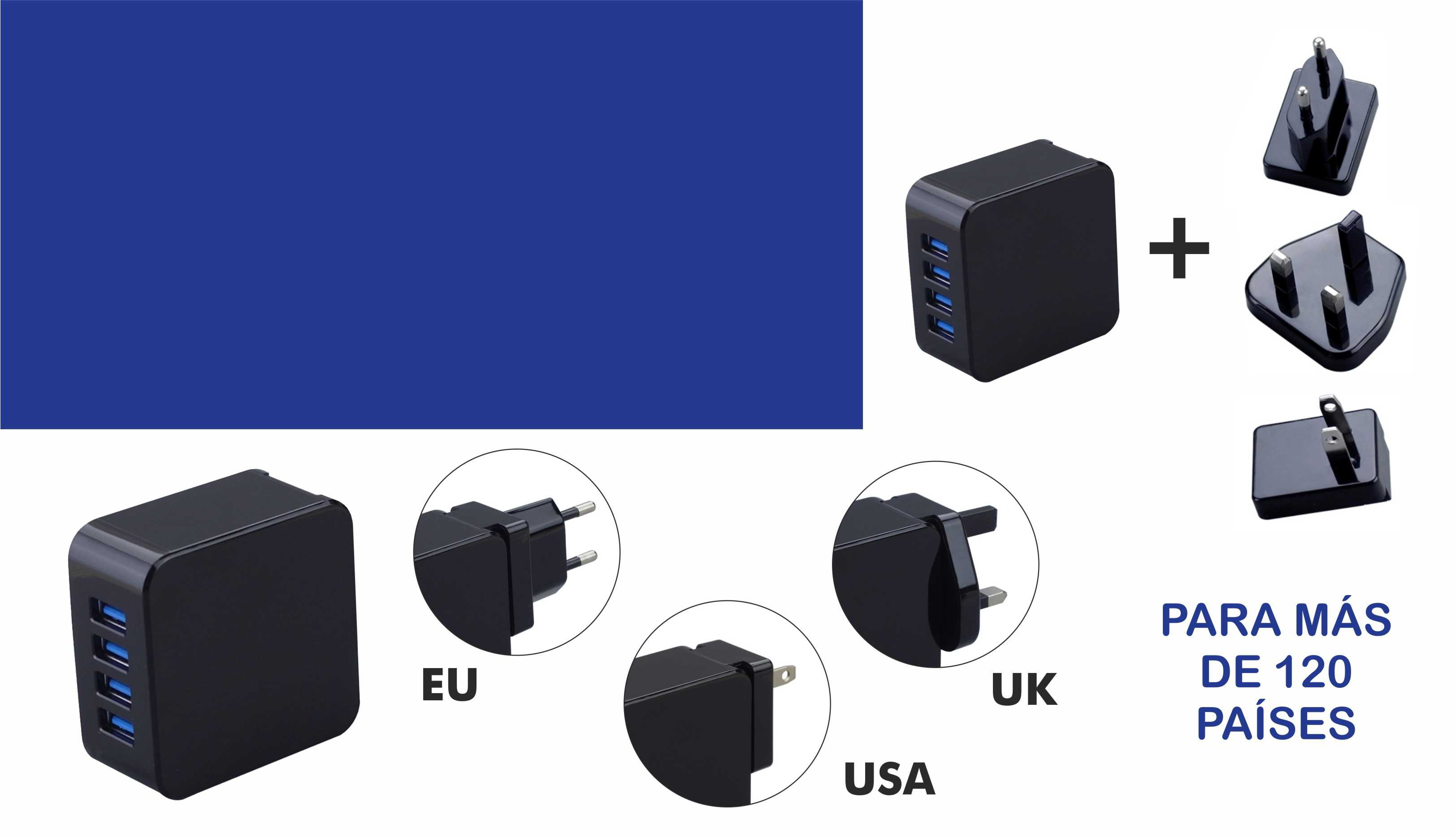 Cargador 4 USB enchufe EU USA UK