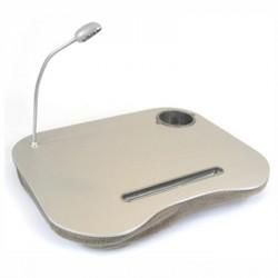 Mesa con cojín y luz led para portátil con posavasos, mod. GRIS