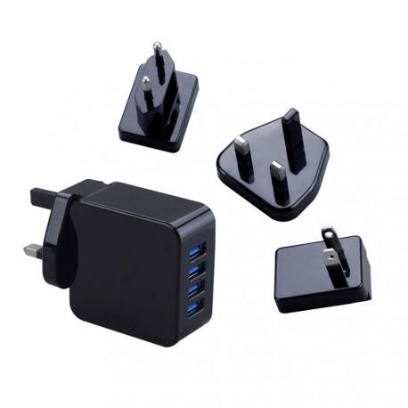 Cargador 4 USB - enchufe intercambiable EU/UK/USA