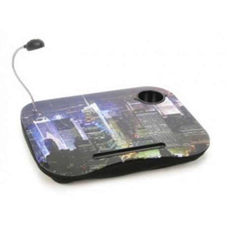 Mesa con cojín y luz led para portátil con portavasos, mod. CIUDAD
