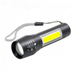 Linterna LED COB 2 en 1 aluminio recargable